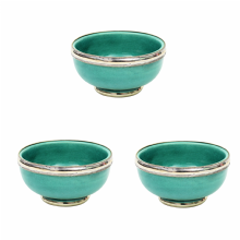 Moroccan Ceramic Bowls Triple Pack with Silver Edge Handmade in Morocco. 8 cm / 3 in (Jade Green)